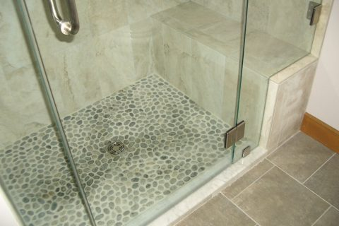 Tiled Shower and Bathroom Floor
